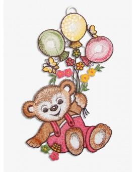 Fensterbild Teddy in Rosa für Kinderzimmer Echte Plauener Spitze