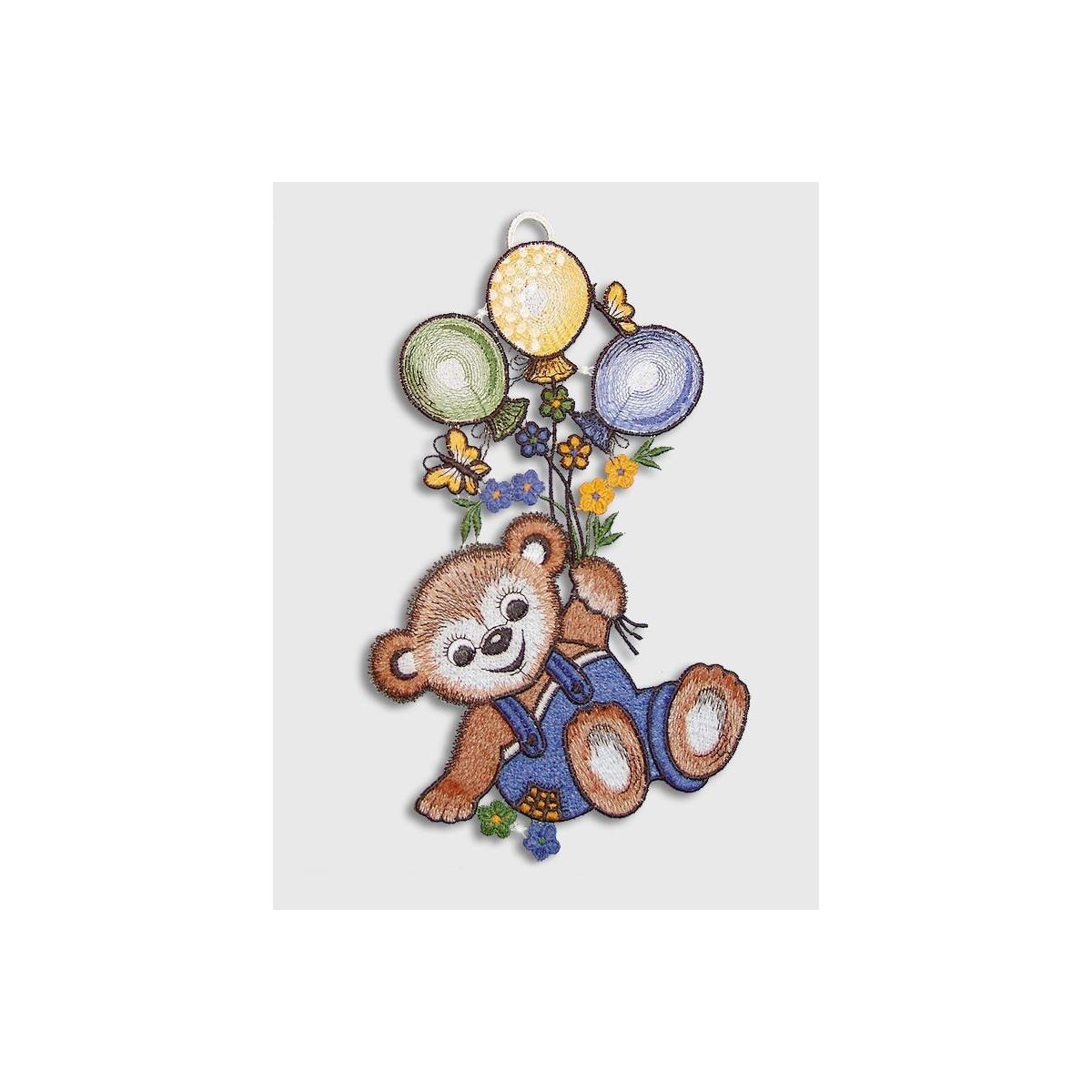 Fensterbild Teddy in Blau für Kinderzimmer Echte Plauener Spitze