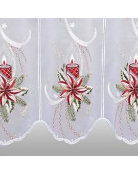 """Weihnachts-Scheibengardine """"Weihnachtslicht"""" Wintergardine mit Plauener Stickerei"""