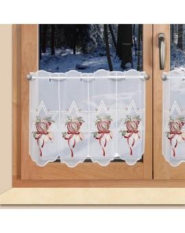 """Weihnachts-Scheibengardine """"Stern und Apfel"""" Wintergardine Plauener Stickerei"""