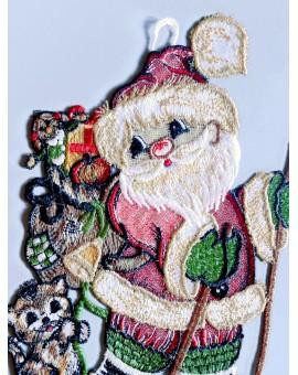 """Weihnachts-Fensterbild """"Weihnachtsmann auf Ski"""" Plauener Spitze 5042201"""
