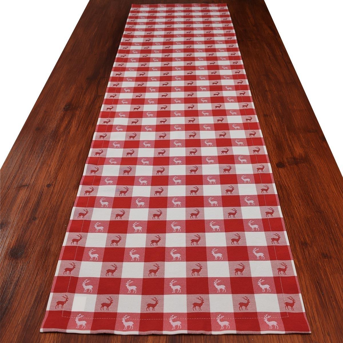 tischl ufer landhaus tischdecke karo in rot 40 x 160 cm. Black Bedroom Furniture Sets. Home Design Ideas