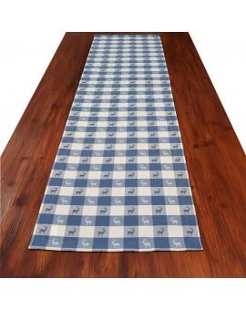 Tischläufer Landhaus-Tischdecke Karo in Blau 40 x 160 cm rot-weiß kariert Hirschmotiv