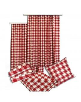 Mitteldecke Landhaus-Tischdecke Karo in Rot 82 x 82 cm rot-weiß kariert Hirschmotiv