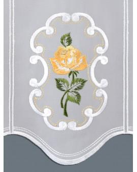 """Panneau Scheibengardine """"Rose in Gelb"""" Plauener Stickerei"""