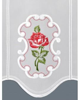 """Panneau Scheibengardine """"Rose in Rot"""" Plauener Stickerei"""