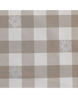 """1 Kissenhülle """"Karo mit Edelweiß"""" beige-weiß 40 x 40cm passend zur Landhaus-Serie Karo mit Edelweiß"""