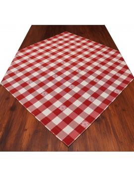 Mitteldecke Landhaus-Tischdecke Karo mit Edelweiß in Rot 82 x 82 cm rot-weiß kariert