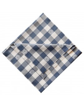 Mitteldecke Landhaus-Tischdecke Karo mit Edelweiß in Blau 82 x 82 cm rot-weiß kariert