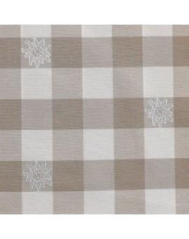 Mitteldecke Landhaus-Tischdecke Karo mit Edelweiß in Beige 82 x 82 cm beige-weiß kariert