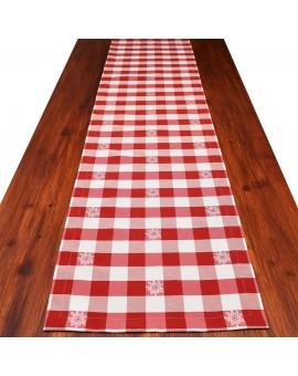 Tischläufer Landhaus-Tischdecke Karo mit Edelweiß in Rot 40 x 160 cm rot-weiß kariert