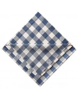 Tischläufer Landhaus-Tischdecke Karo mit Edelweiß in Blau 40 x 160 cm blau-weiß kariert