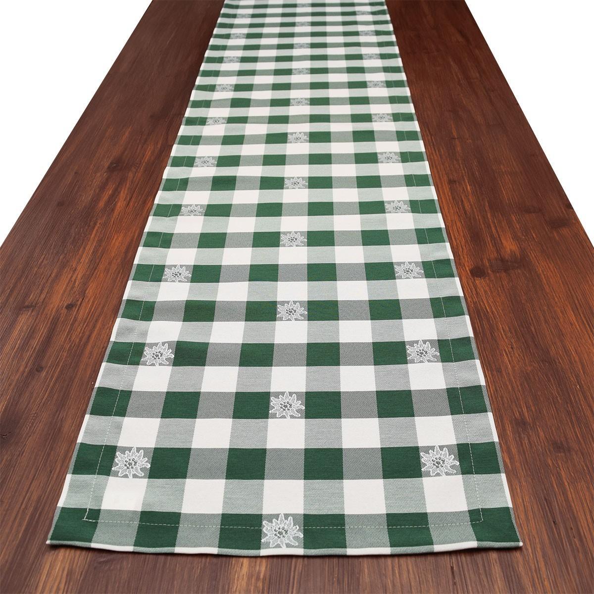Tischläufer Landhaus-Tischdecke Karo mit Edelweiß in Grün 40 x 160 cm grün-weiß kariert