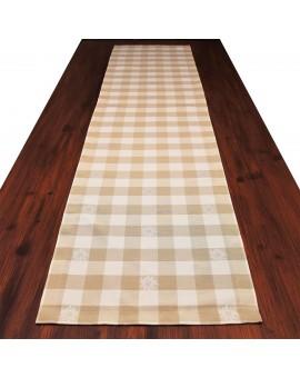 Tischläufer Landhaus-Tischdecke Karo mit Edelweiß in Beige 40 x 160 cm beige-weiß kariert