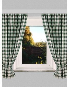 """Set Dekoschal """"Karo mit Edelweiß"""" in Grün 2-er-Pack grün-weiss / 2 Stück Landhaus-Vorhang mit Reihband"""