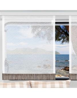 Flächengardine Wohnwagenstore Smilla weiß-braun Caravan-Gardine mit Profilen Tunnelband
