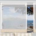 Flächengardine Wohnwagenstore Smilla weiß-beige Caravan-Gardine mit Profilen Tunnelband