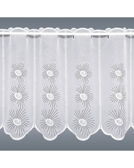 Scheibengardine Amalia Panneau mit weiß-grauem Blüten-Muster aus Plauener Spitze