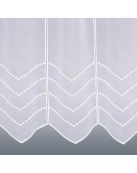 Scheibengardine Amira Panneau mit weißem Perlenschnur-Muster aus Plauener Spitze