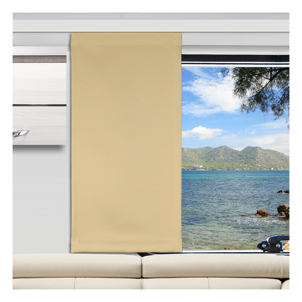 Flächengardine Mattis beige uni Wohnwagen-Vorhang