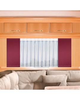 Flächengardine Mattis rot uni Fensteransicht