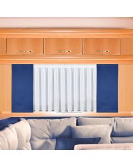 Flächengardine Mattis blau uni am Fenster