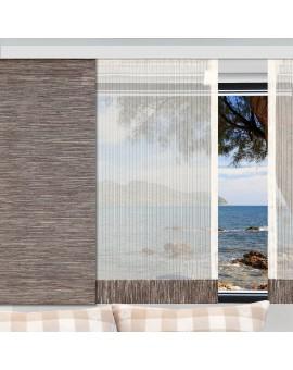 Flächengardine Wohnwagenstore Maite sekt-braun Caravan-Gardine am Beispielfenster