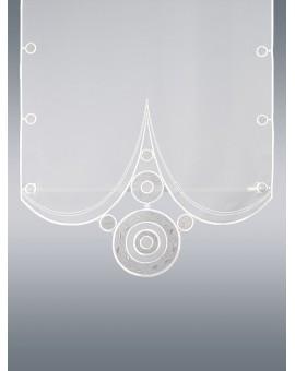 """Flächengardine """"Circle"""" Plauener Stickerei Schiebevorhang weiss-braun"""