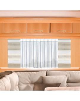 Wohnwagen-Caravan-Store ANNA weiß Flachfaltenband mit Flächengardine beige