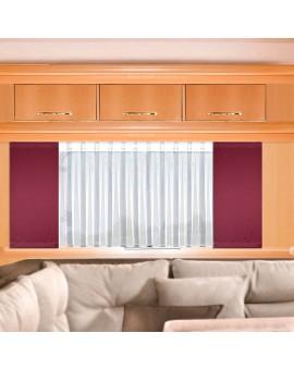 Wohnwagen-Caravan-Store ANNA weiß Flachfaltenband mit Flächengardine rot