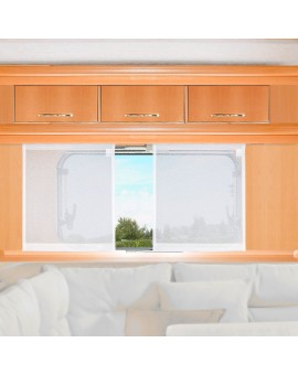 Flächengardine Wohnwagenstore Sophie weiß Caravan-Gardine am Fenster