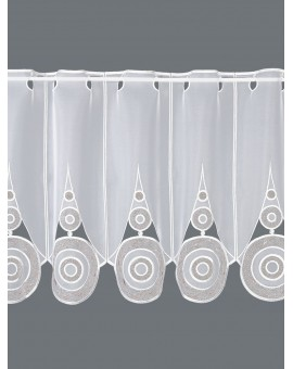 """Moderne Scheibengardine """"Circle"""" Plauener Spitze Panneaux weiß-braun"""