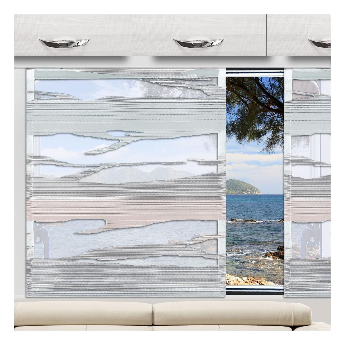 Schiebevorhang Eltje grau-grün an einem Caravanfenster