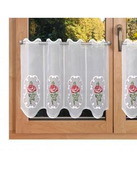 Kurzgardine Rose in Rot an einem Fenster