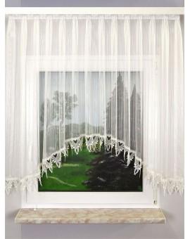 """C-Bogenstore """"Mailin"""" Fertiggardine Blumenfensterstore sekt mit Plauener Spitze"""