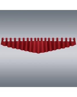 Querbehang Hetty Rot mit Schlaufen vor grauem Hintergrund