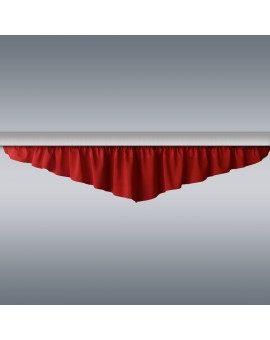 Querbehang Hetty Rot mit Reihband vor grauem Hintergrund
