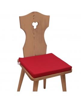 Sitzkissen Hetty Rot uni komplett auf einem Stuhl