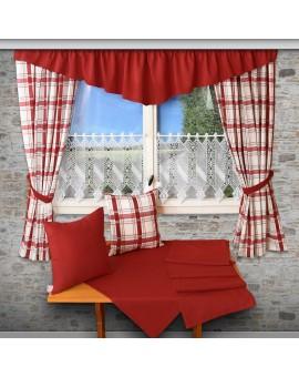 Landhaus-Tischdecke Hetty Rot uni Deko mit Schals Kissen und Querbehang