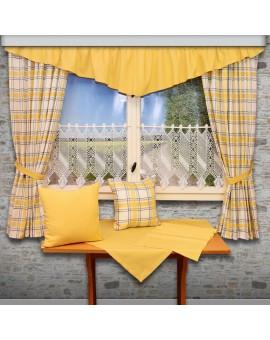 Querbehang Hetty Gelb mit Reihband Deko am Fenster