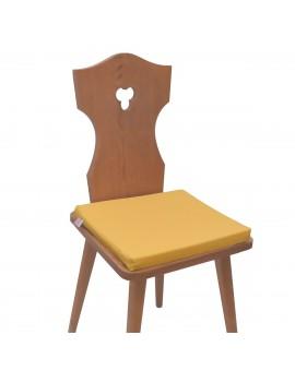 Sitzkissen Hetty Gelb uni komplett auf einem Stuhl