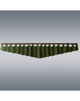 Querbehang Hetty Grün mit Schlaufen vor grauem Hintergrund