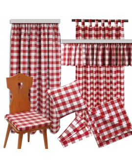 Sitzkissen Karo mit Edelweiß rot-weiß komplett komplette Serie