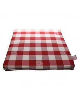 Sitzkissen Karo mit Edelweiß rot-weiß komplett