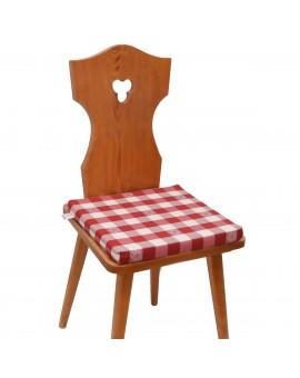 Sitzkissen Karo mit Edelweiß rot-weiß komplett auf Stuhl