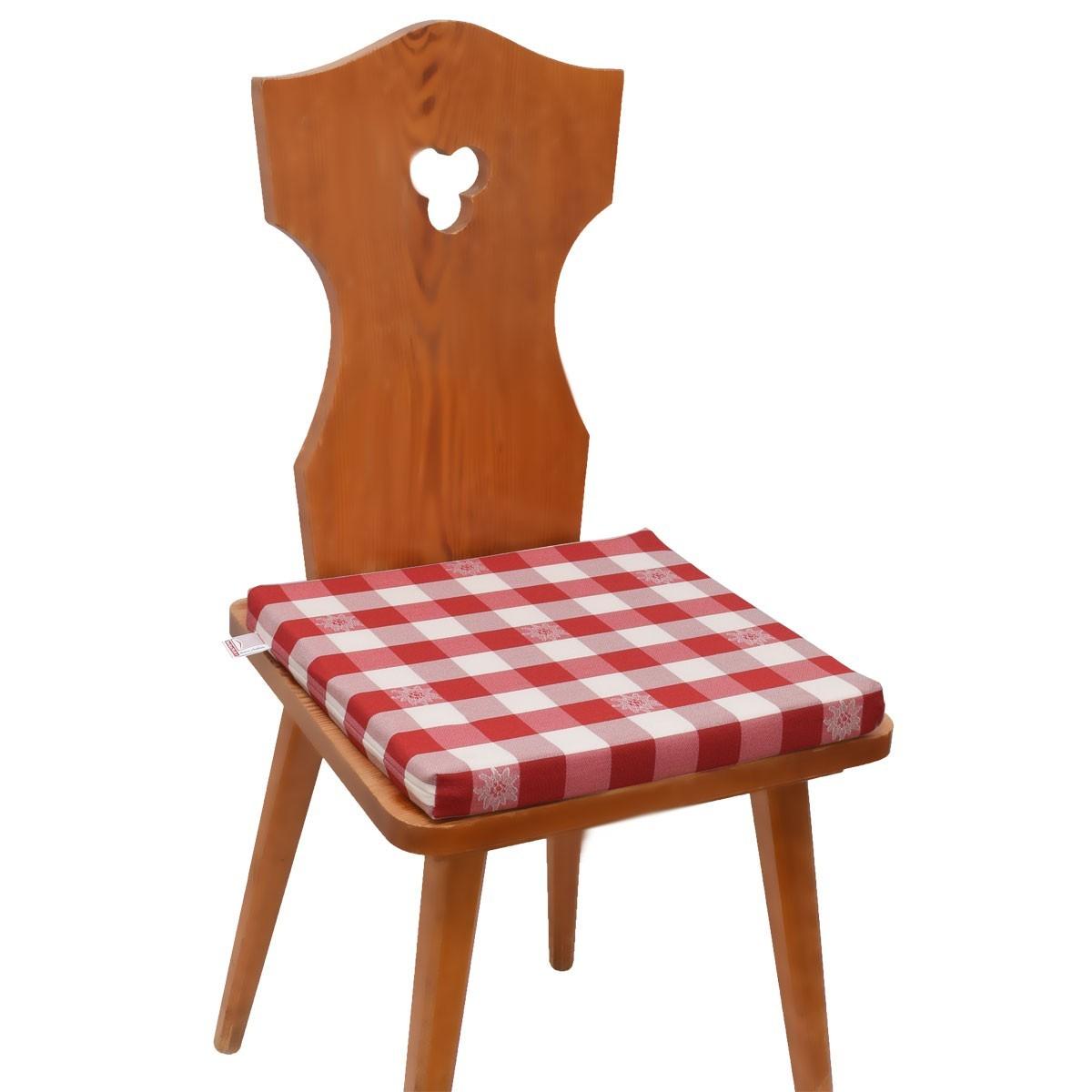 Mit Karo Komplett Kissen Sitzkissen Weiß Edelweiß Rot knO0Pw