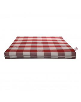Sitzkissen Karo mit Edelweiß rot-weiß komplett Frontalansich
