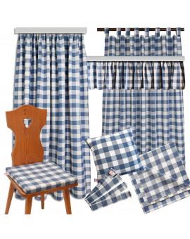 Sitzkissen Karo mit Edelweiß blau-weiß komplett komplette Serie