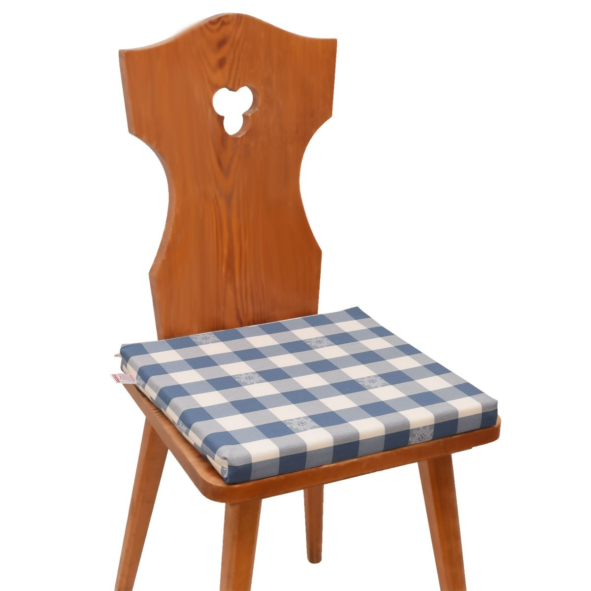 Sitzkissen Karo mit Edelweiß blau-weiß komplett auf Stuhl