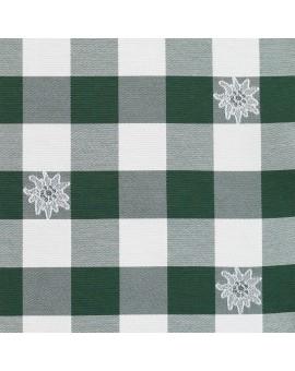 Sitzkissen Karo mit Edelweiß grün-weiß komplett Stoffmuster